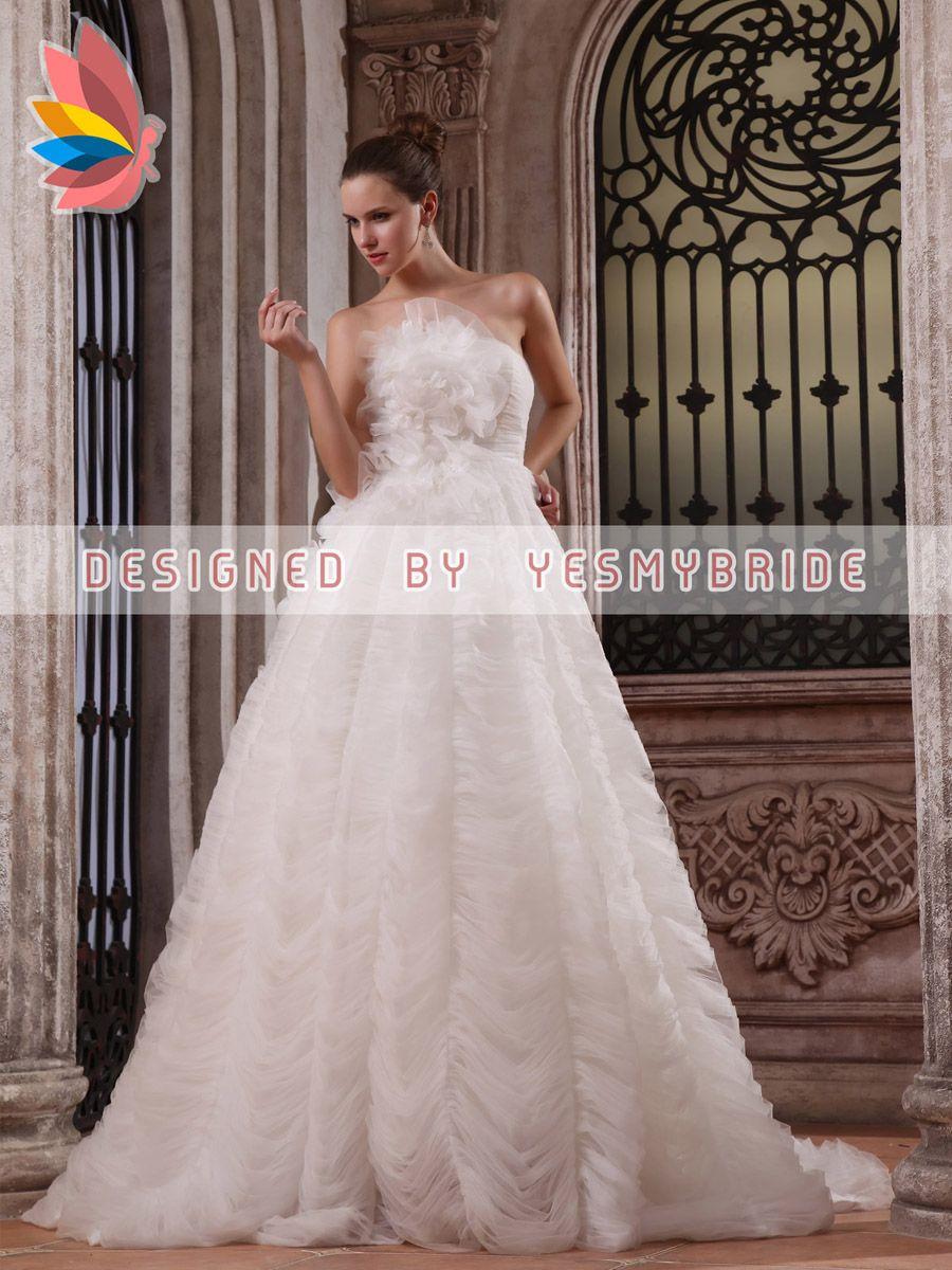 strapless a line soft cascade tulle wedding dress