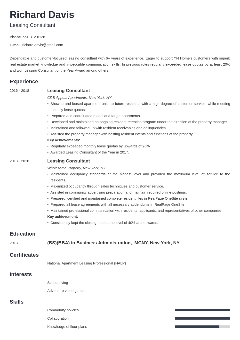 leasing consultant resume example template minimo in 2020