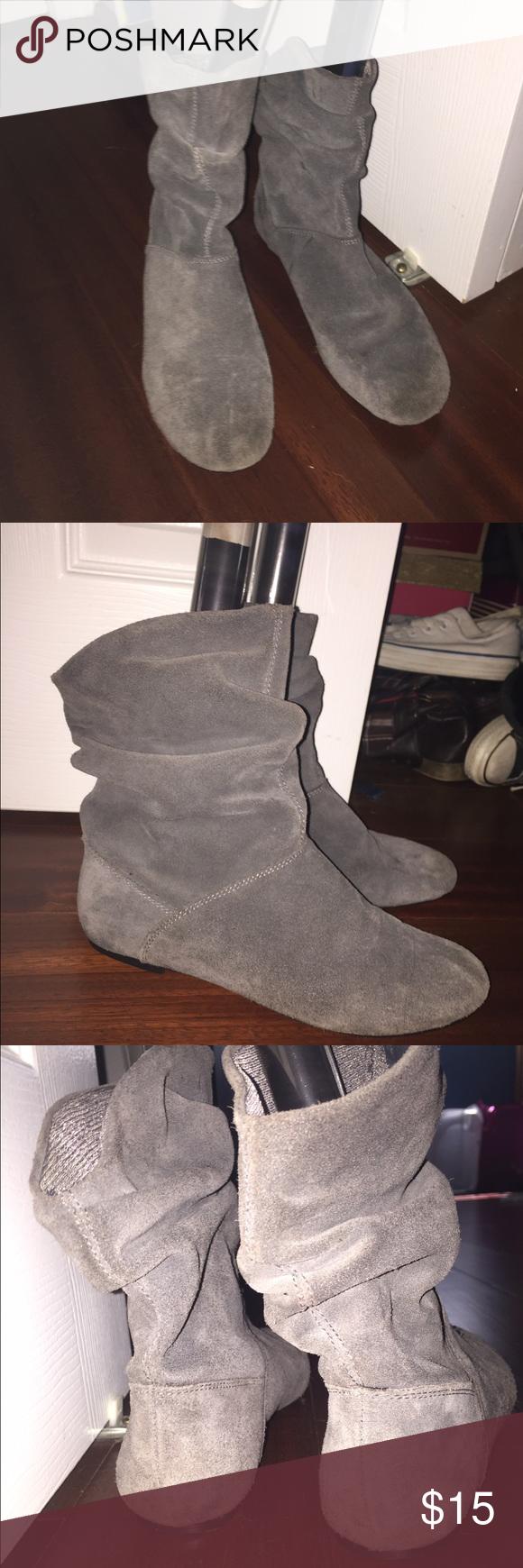 Flat booties Suede, grey booties. No heel. Slightly worn but still good. Macy's Shoes Ankle Boots & Booties
