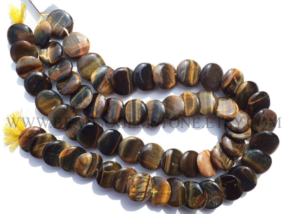 Tiger Eye Smooth Disc (Quality A) / 16.50 to 18.50 mm / 36 cm / TI-072 by beadsogemstone on Etsy