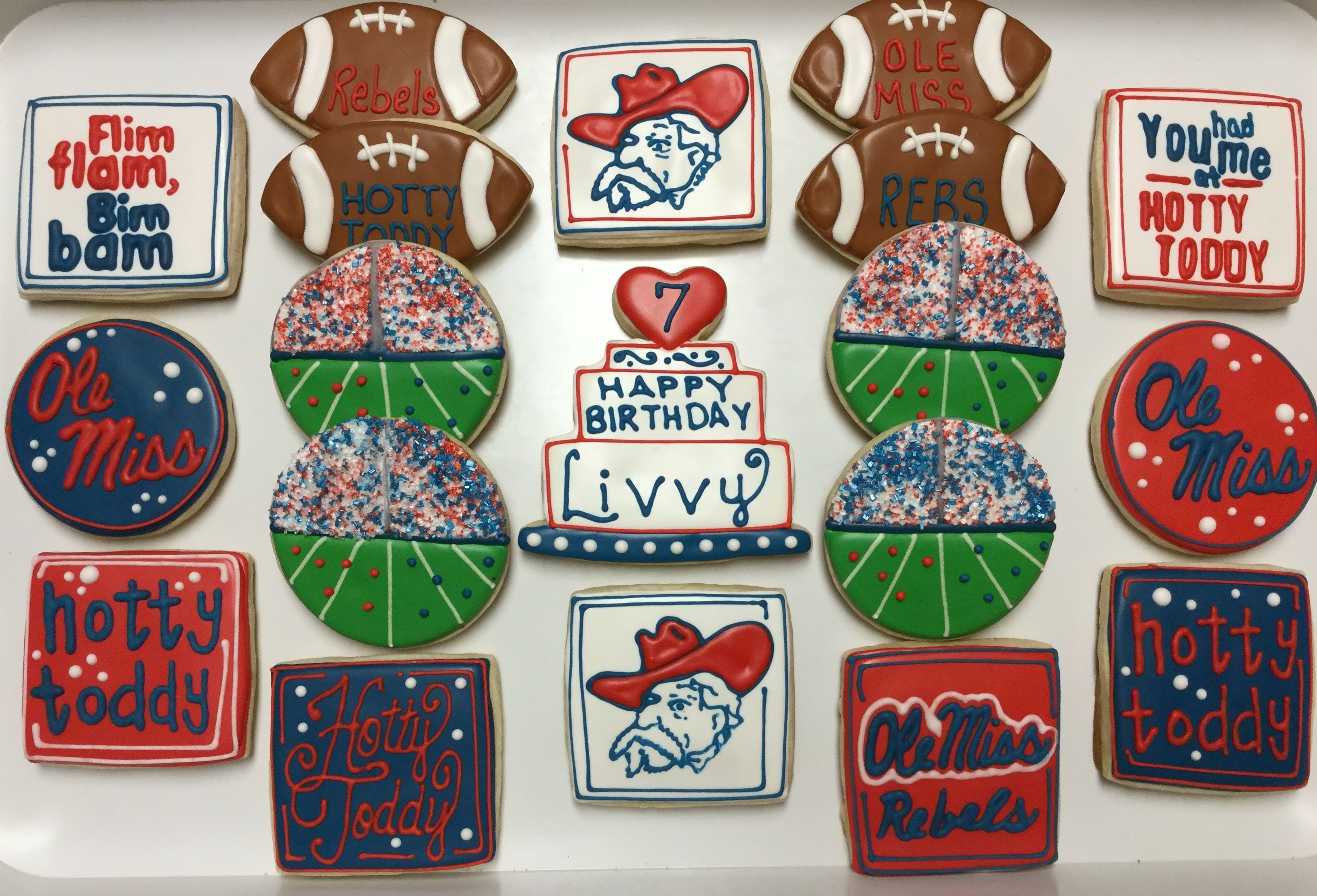 Ole Miss Football Birthday Decorated Sugar Cookies By I Am The Cookie Lady Sugar Cookies Decorated Football Cookies Ole Miss Football
