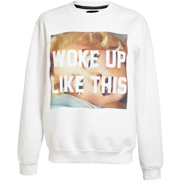 UNTITLED AND CO Unisex Marilyn Motif Cotton Sweatshirt (€75) ❤ liked on Polyvore featuring tops, hoodies, sweatshirts, sweaters, shirts, white shirt, white long sleeve top, long sleeve shirts, extra long sleeve shirts and white sweatshirt