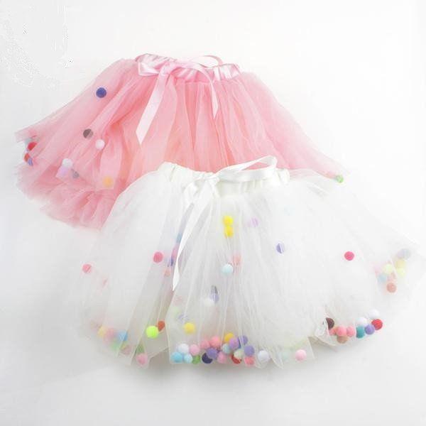 ba9f3b1876 Pom-Poms Tutu Skirt birthday outfit | ♡ My mika is one! ♡ | Tutus ...