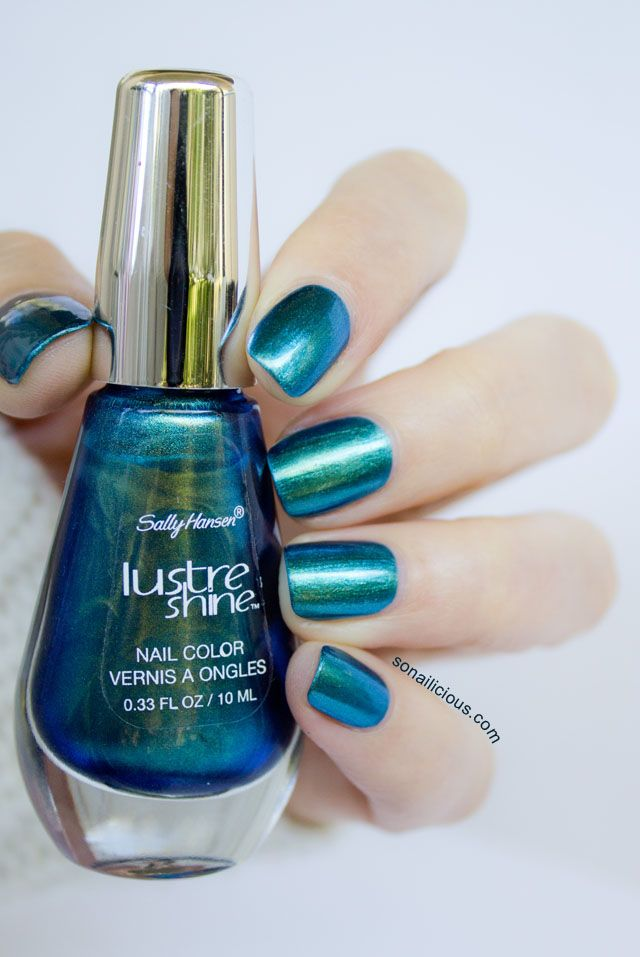 Sally Hansen Lustre Shine Scarab and Azure - Review & Ombre Nails ...