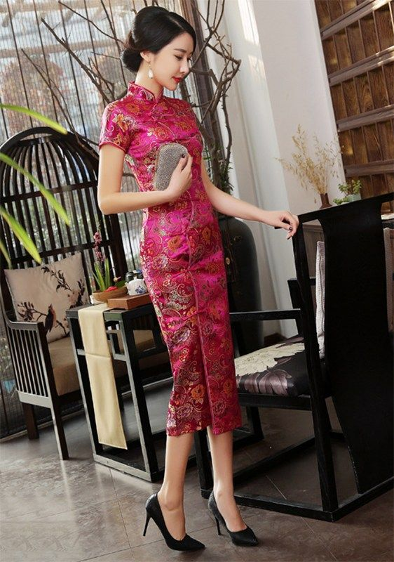 a516ce3d2 Folk floral brocade fuchsia red traditional Chinese dress – Modern Qipao