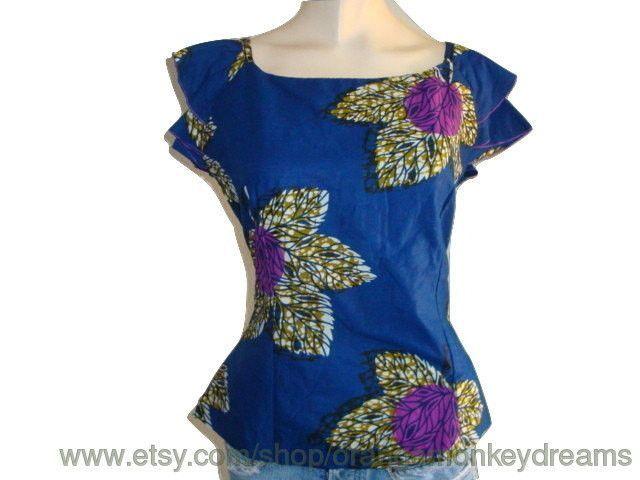 vintage batik Tribal BOHEMIAN BLUE floral flowers Hippie ruffle sleeve top women Blouse shirt MEDIUM