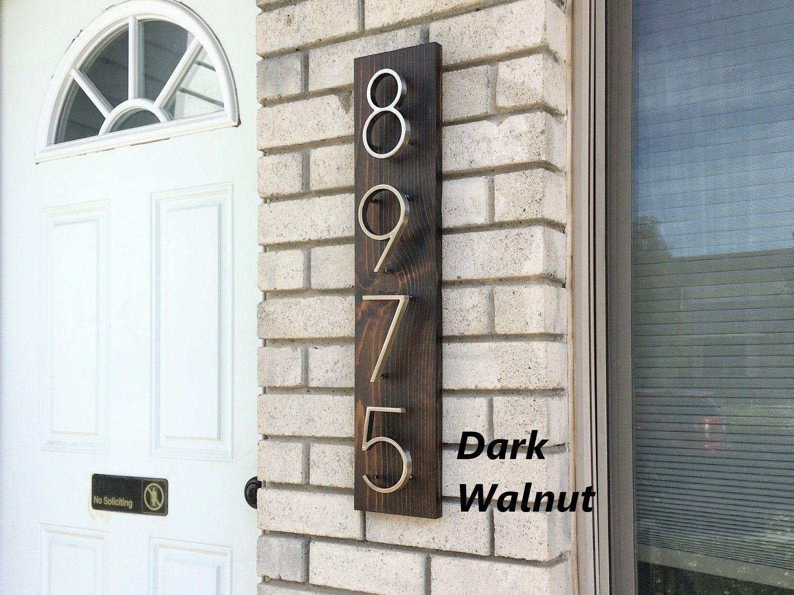Vertical Address Plaque Modern Floating Number Wood Address Etsy