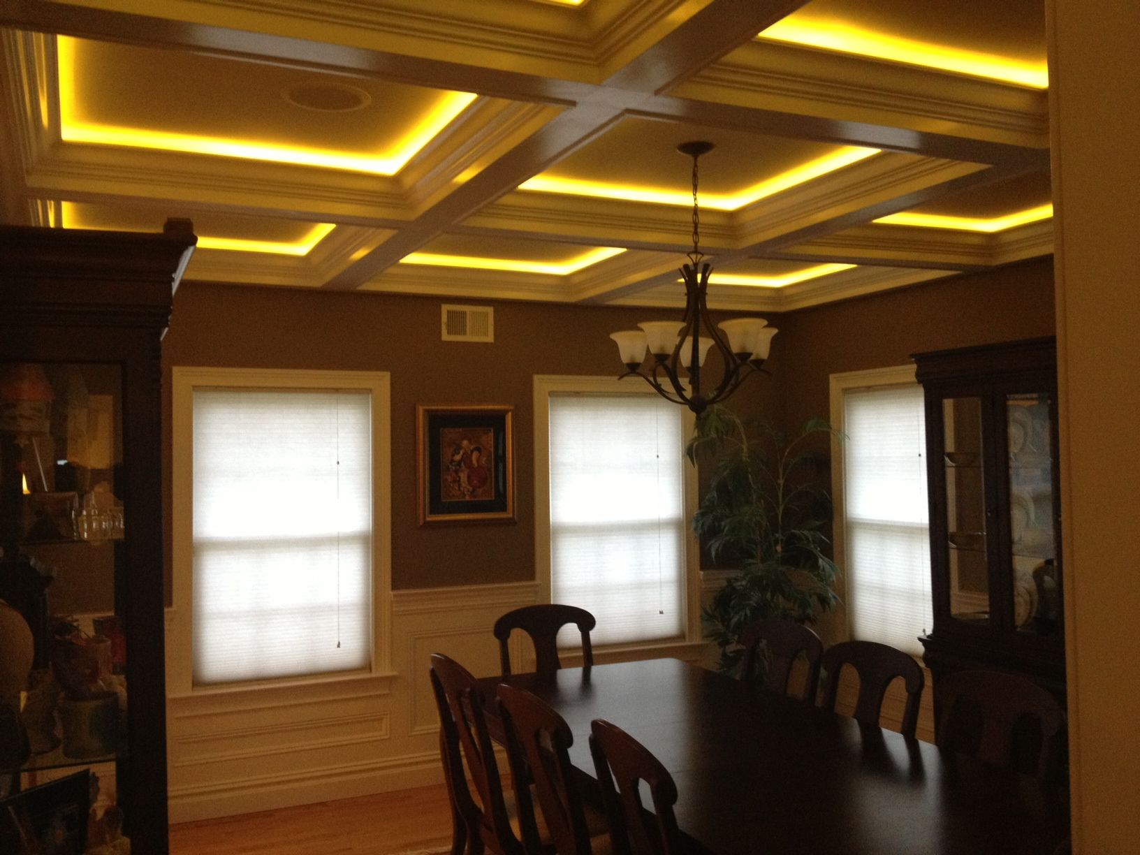 Coffered Ceiling With Custom Recessed Lighting Www Firmusllc Com