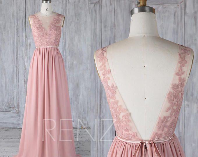 Brautjungfer Kleid Altrosa Chiffon Spitze Illusion Brautkleid Mit Scharpe V Z 2019 Brau Dusty Rose Bridesmaid Dresses Illusion Wedding Dress Mauve Prom Dress