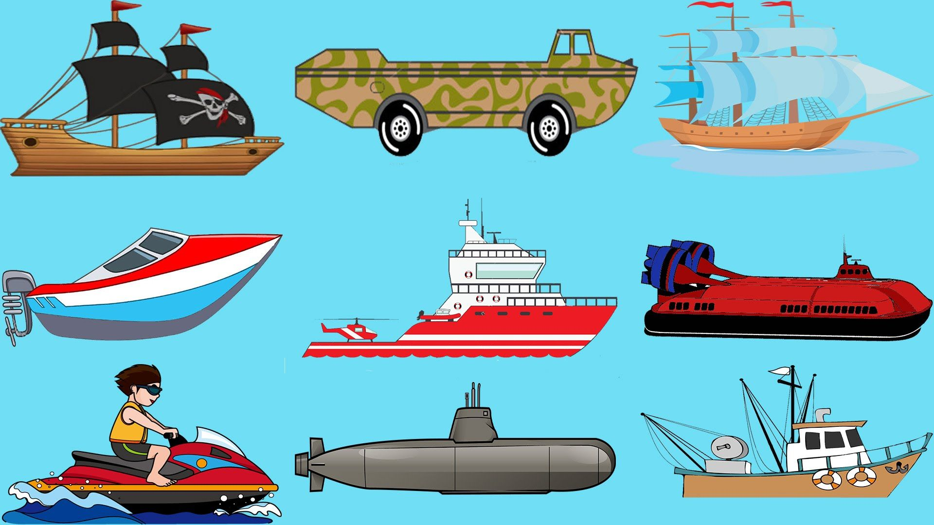 Learning Water Vehicles For Kids, Sailing Ship, Speed Boat