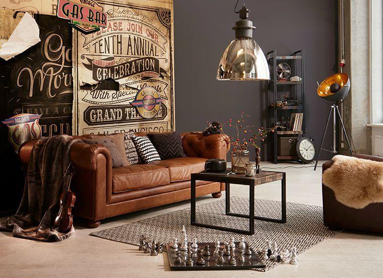industrial style living room furniture decorating ideas for narrow rooms einrichten im used look mit coolen lampen rustikalen accessoires und einem chesterfield sofa alles von mobel