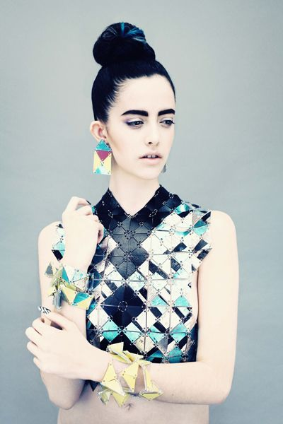 Geometric Fashion design details, connecting shapes, pattern // Tesselate - JANE BOWLER AW13