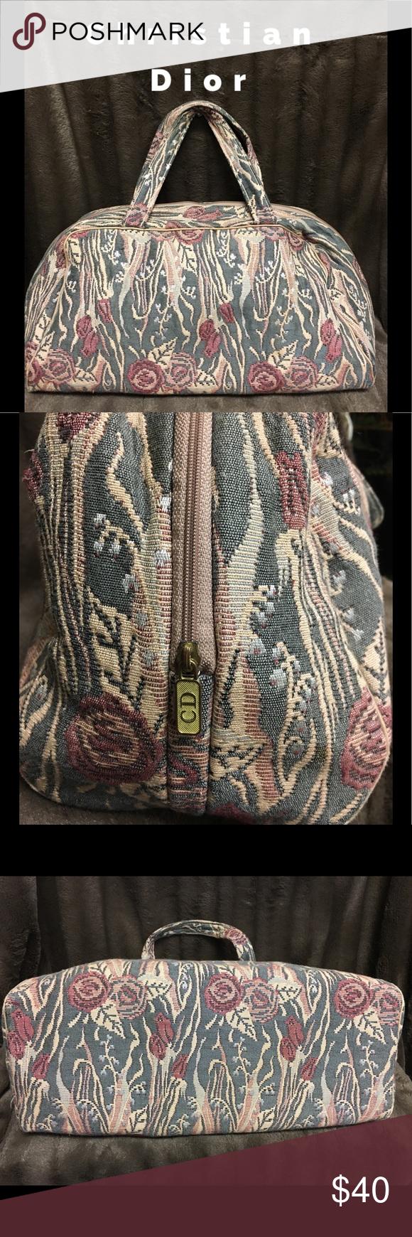 Vintage 80's Christian Dior Large Cosmetic Bag Large