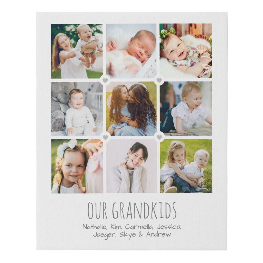 Personalized Grandparents' Photo Collage Faux Canvas Print | Zazzle.com #grandparentphoto Personalized Grandparents' Photo Collage Faux Canvas Print #grandparentphoto