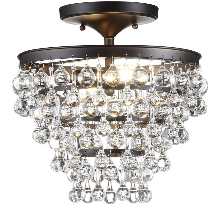Jonathan Y Toronto 13 In Metal Crystal Led Oil Rubbed Bronze Flush Mount In 2020 Flush Mount