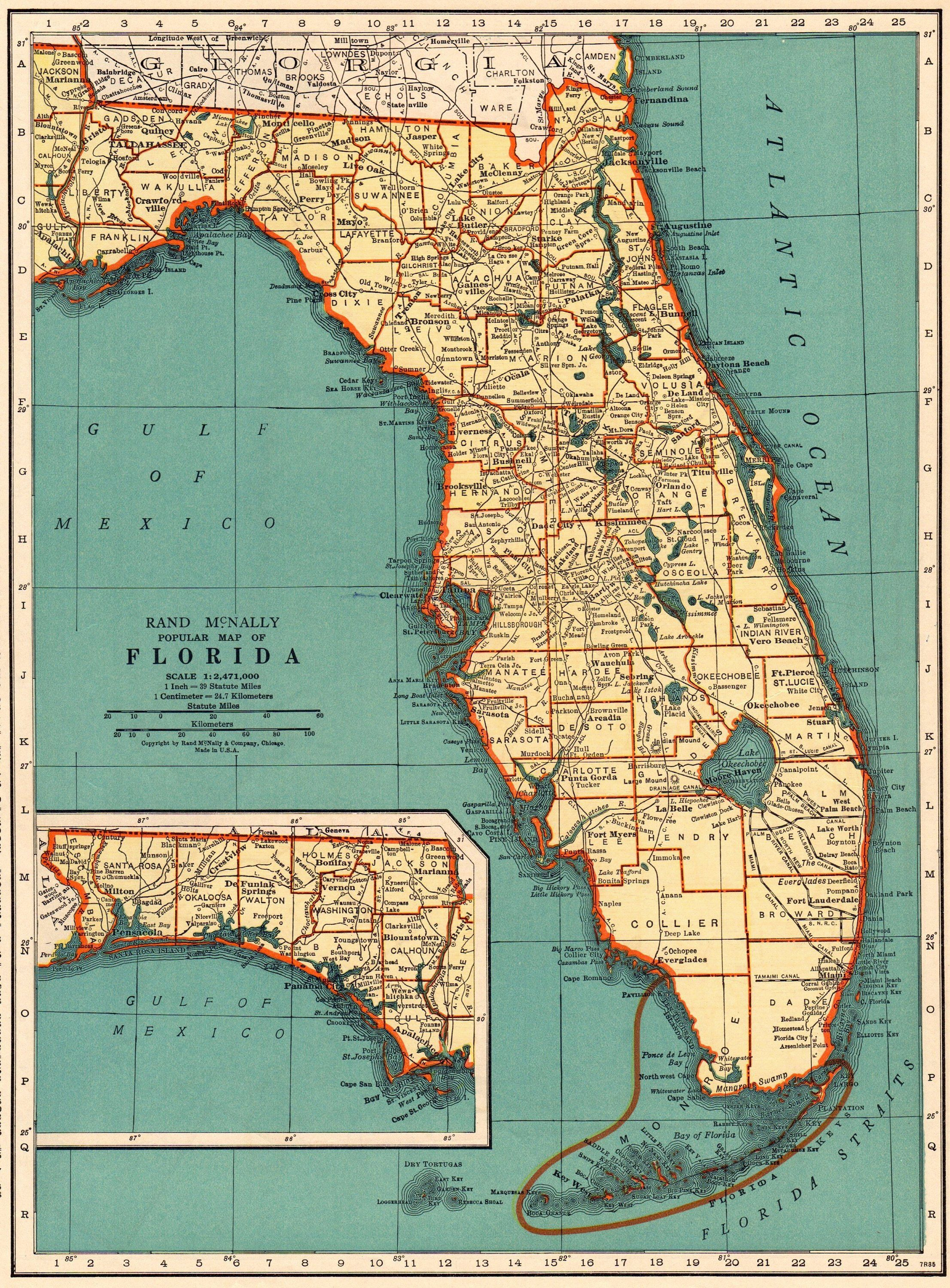 1937 Antique Florida Map Vintage State Map Of Florida Gallery Wall