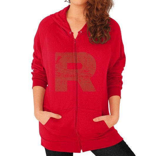 Team Rocket Grunge Zip Hoodie (on woman)