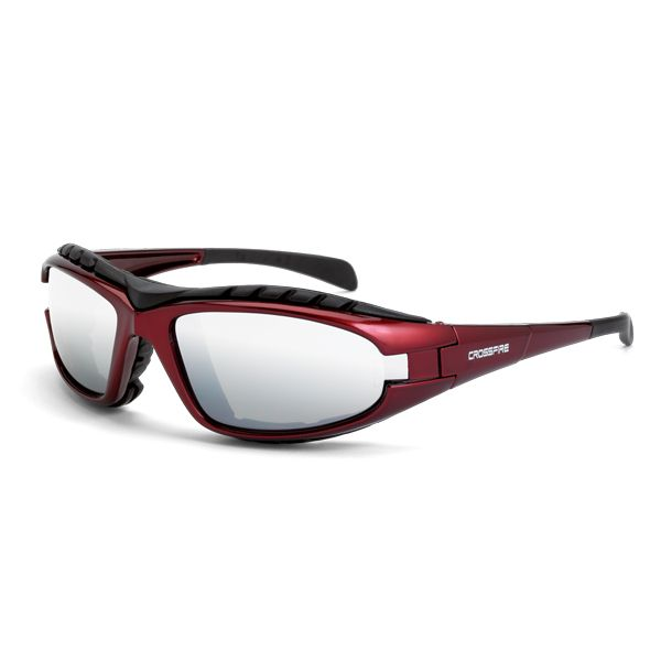54868decaea CrossFire Diamondback Safety Glasses - Red Foam Lined Frame - Silver Mirror  Lens