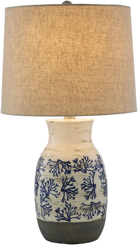 Octavia Blue Coral Painted Table Lamp Table Lamp Coral Blue Ceramic Table Lamps