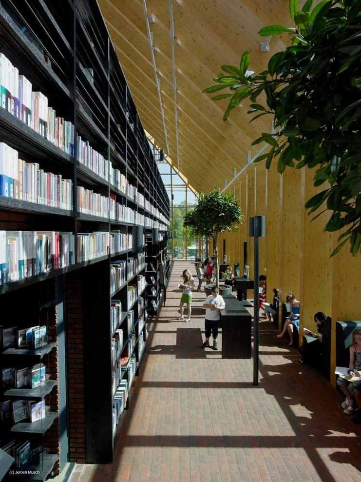 side space in Magnificent Public Library Featuring Mountainously Spiraling Bookshelf