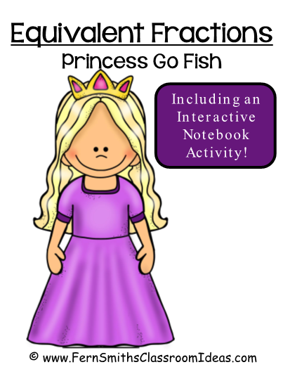 FRACTIONS This Go Princess! Go Fish Fraction Card Game