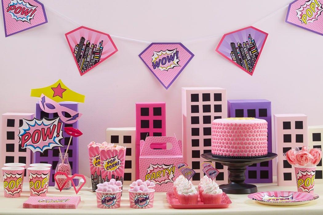 Pink Comic Book Superhero Party Ideas