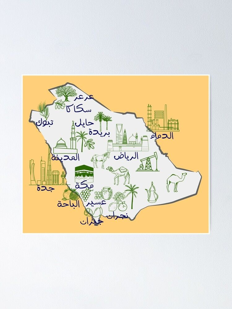 Saudi Arabia Map Hand Drawn Ksa Landmarks With The Names Of The Major Cities In Arabic Poster By Mashmosh How To Draw Hands Map Draw