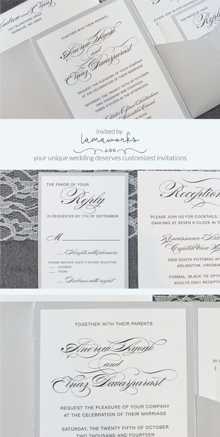 Silver Wedding Invitations, Pocket Invitation for Wedding ...