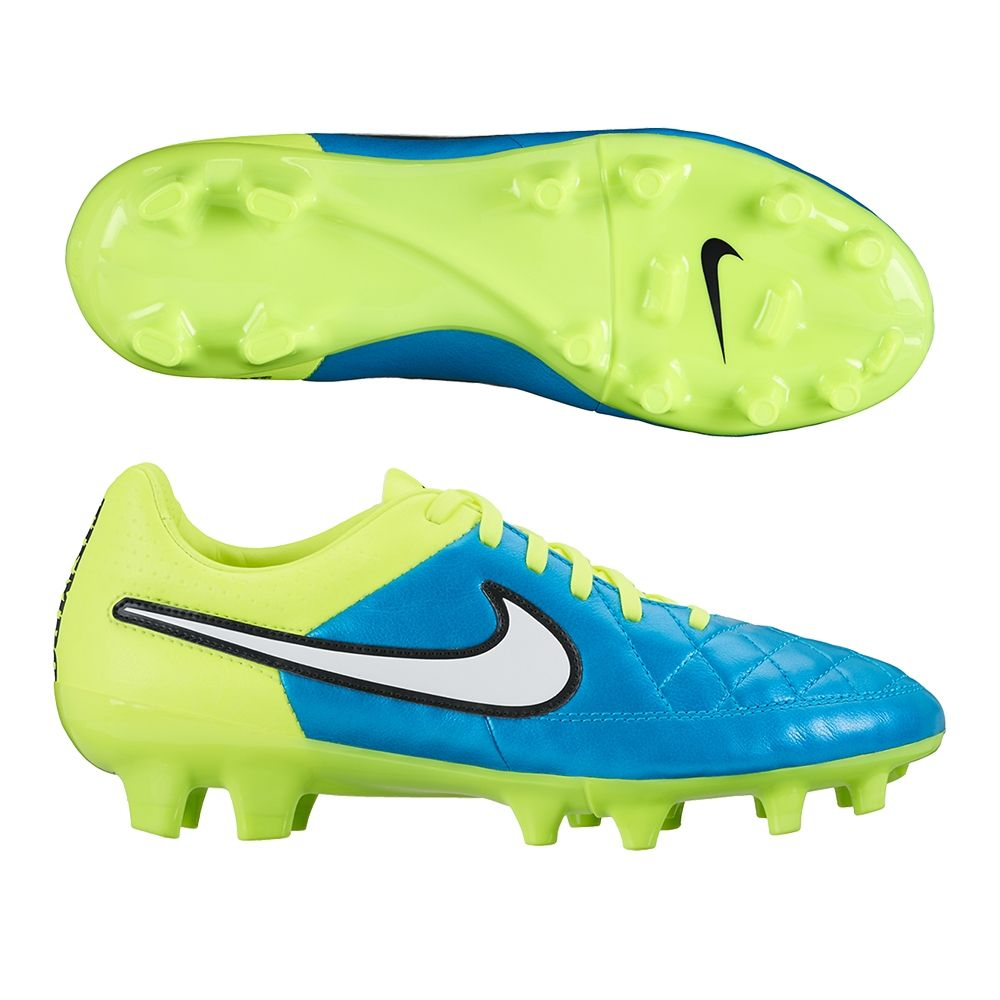 31f3c8326d5 The Nike Women s Tiempo Legacy soccer cleats feature a great bright blue  and volt color.