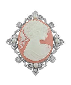 Sterling Silver Pink Lady Cameo Brooch   Overstock.com Shopping - Big Discounts on Brooches & Pins