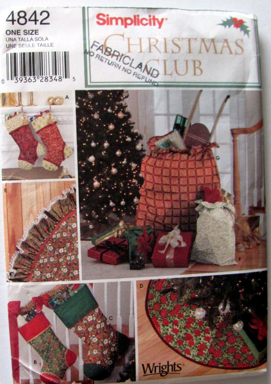 Simplicity 4842, Christmas Tree Skirt Patterns, Christmas Stockings ...