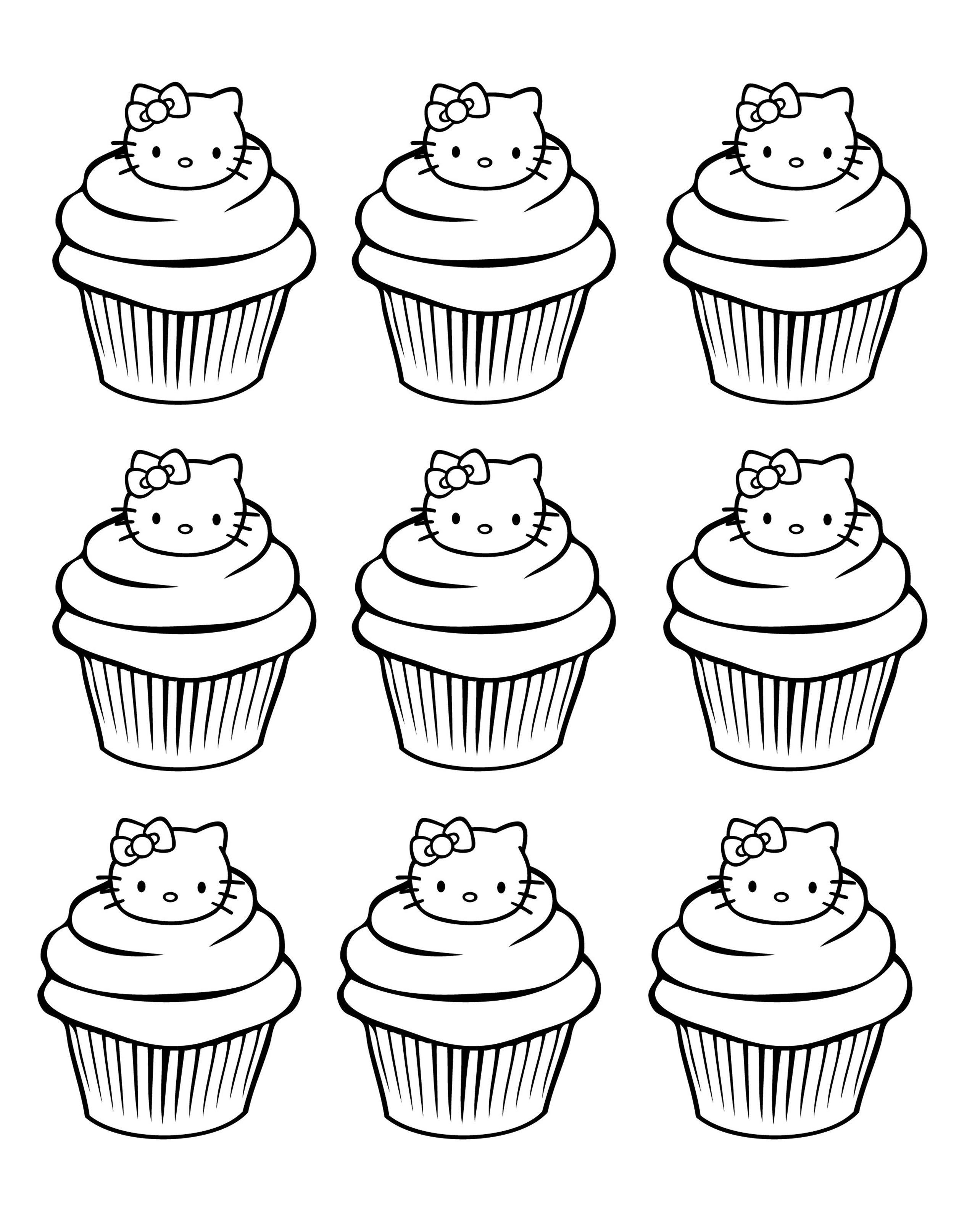 Galerie de coloriages gratuits coloriage-cupcakes-hello-kitty-simple ...