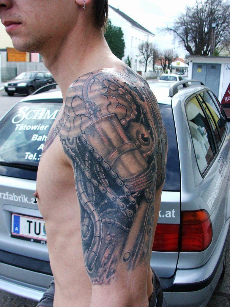 Tattoo gear tattoo sleeve mechanic tattoo mechanical tattoo gears - Tattoo Biomechanical Shoulder