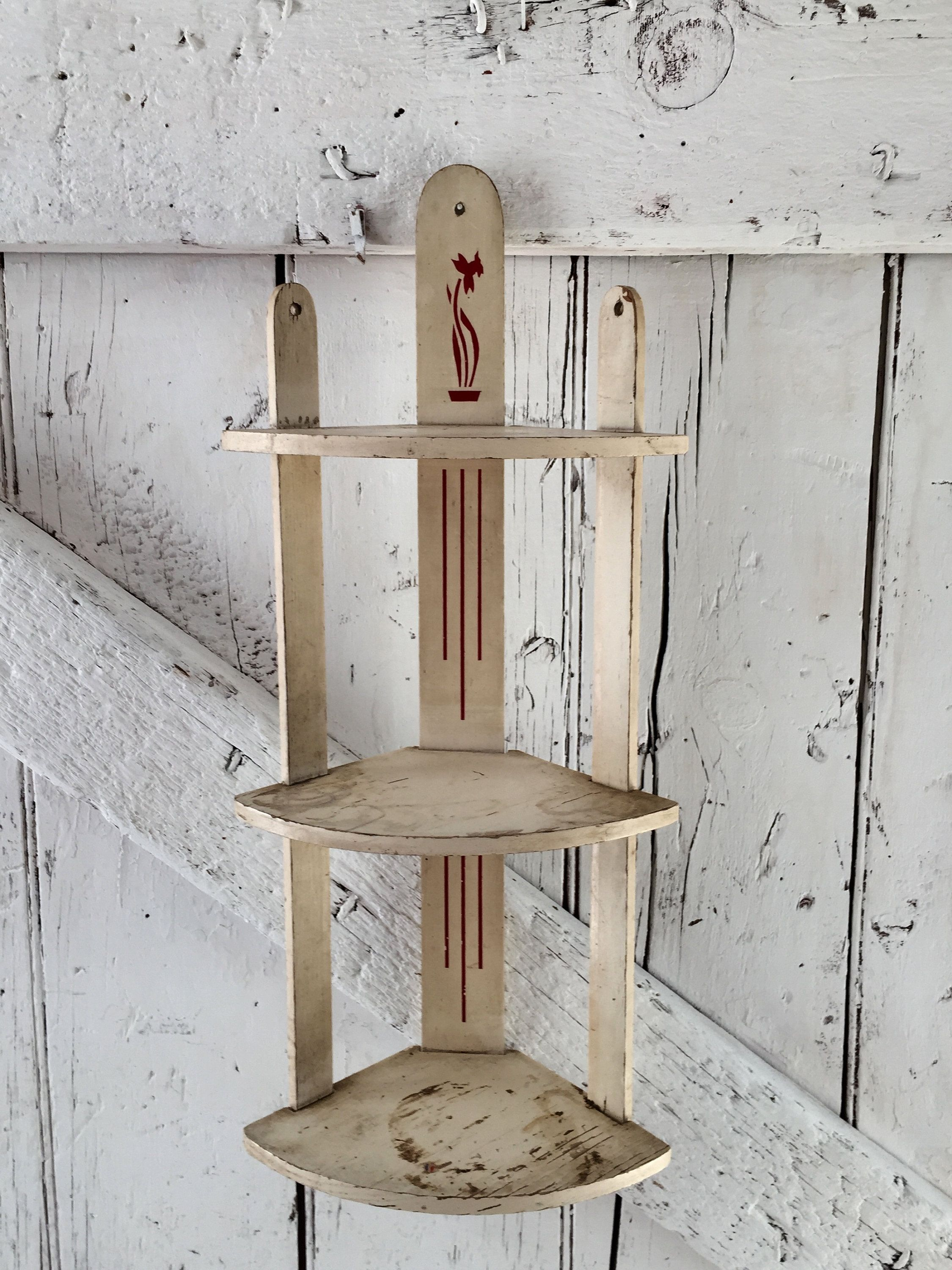 Wood Corner Shelf Vintage White And Red Daffodil Knick Knack 3 Tier Wooden Wall Hanging Wooden Wall Hangings Wood Corner Shelves Shelves