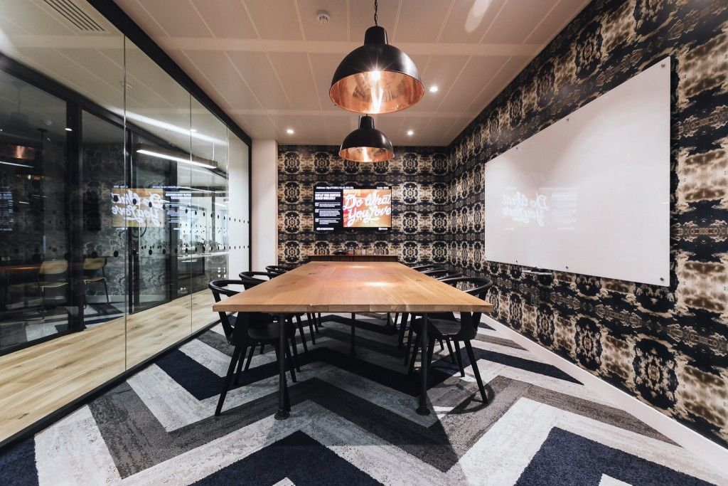 Rooms: The Blue, White And Grey Chevron Floor Pattern Really