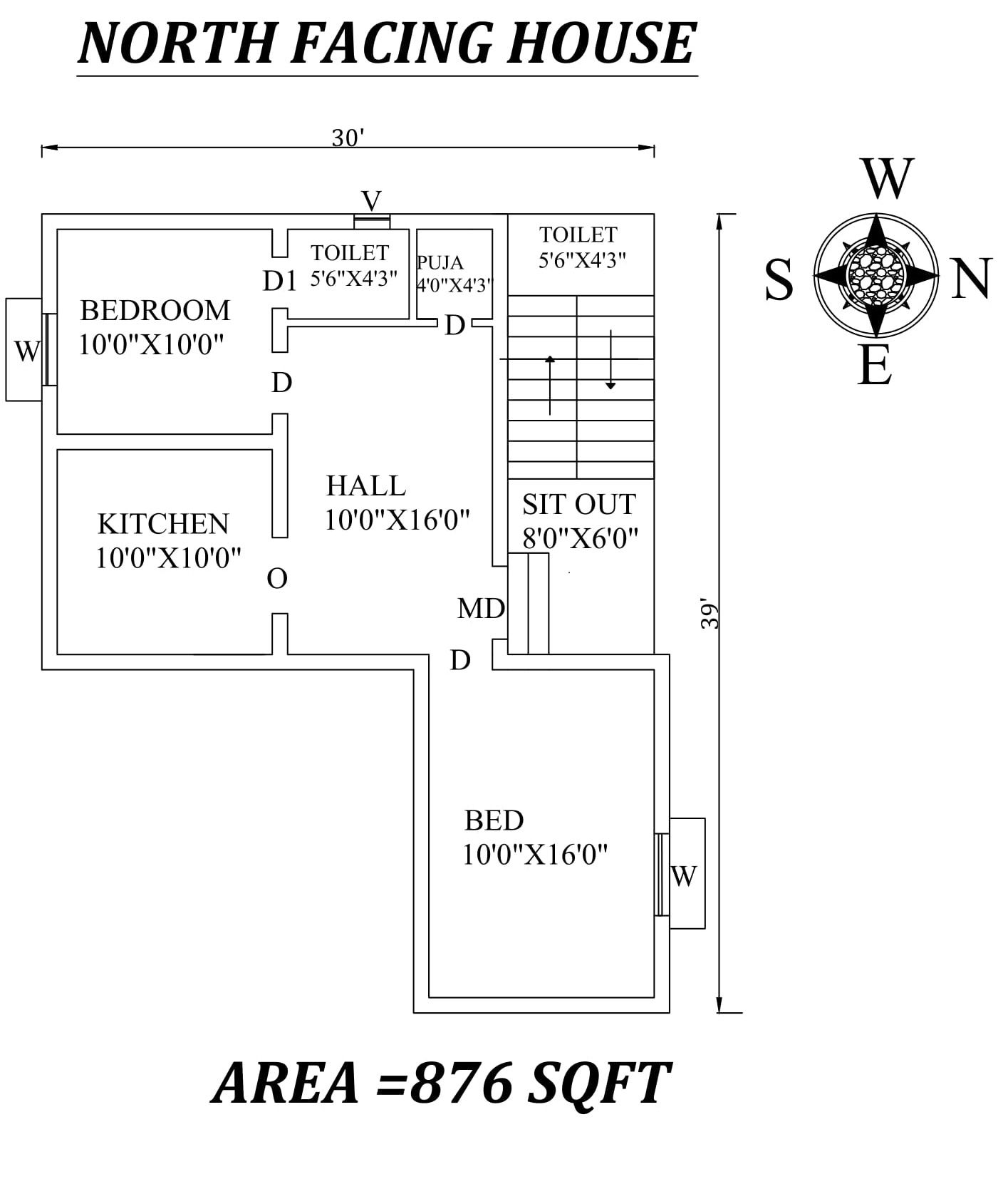 30 X39 Amazing North Facing 2bhk House Plan As Per Vastu Shastra Autocad Dwg And Pdf File Details 2bhk House Plan Little House Plans House Plans