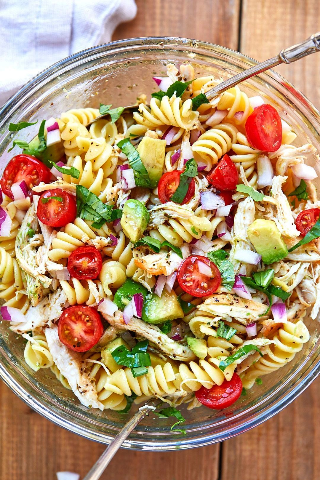 Chicken Pasta Salad - - Packed with flavor, protein and veggies! This healthy chicken pasta salad i