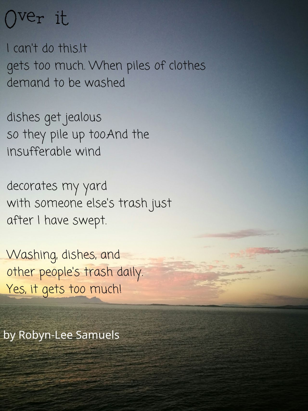Poetry By Robyn Lee Samuels Poetry Washing Dishes Jealous