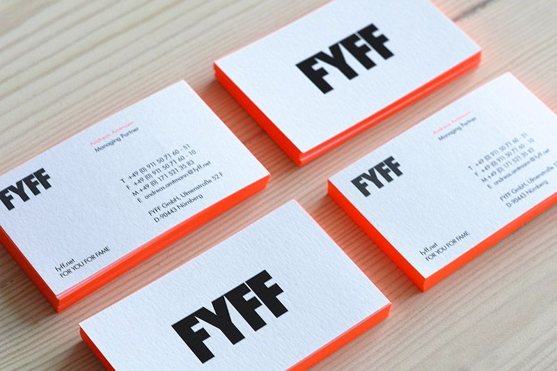 Visitenkarten Mit Neon Farbschnitt Und Heißfolienprägung