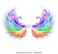 Image result for feathers wings rainbow hearts