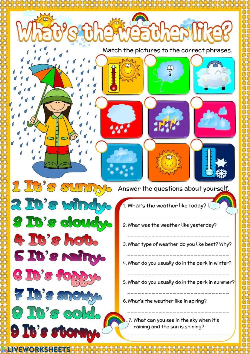 The Weather Interactive And Downloadable Worksheet You Can Do The Exercises Online Or Download The Wo Weather Worksheets Weather Vocabulary Weather Elementary [ 1413 x 1000 Pixel ]