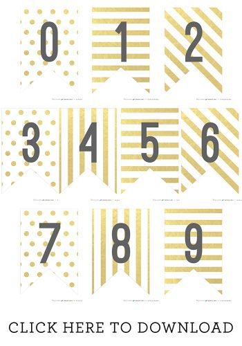 Free Printable Gold Banner Numbers - Somewhat Simple