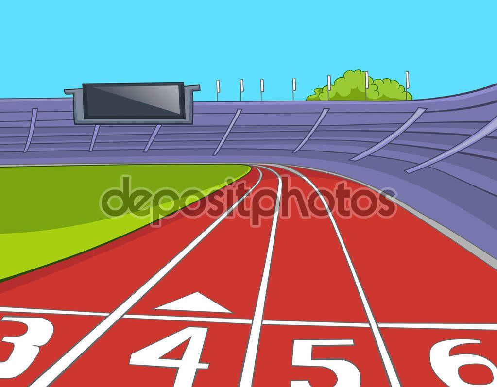 Dibujos Animados Pista De Atletismo Estadio Football Stadiums American Football Cartoon Background
