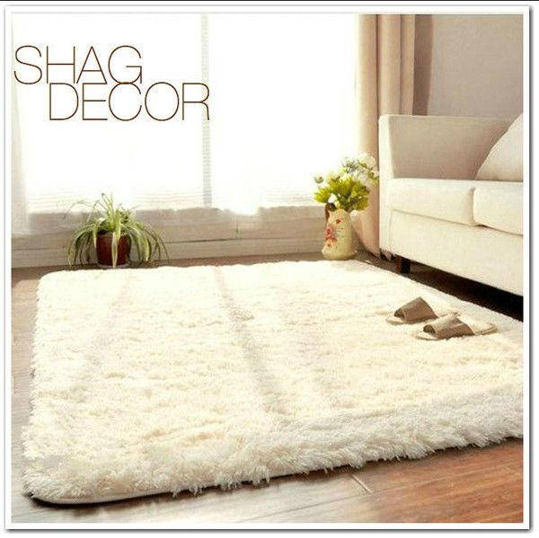 White Shag Anti-skid Rectangle Rug