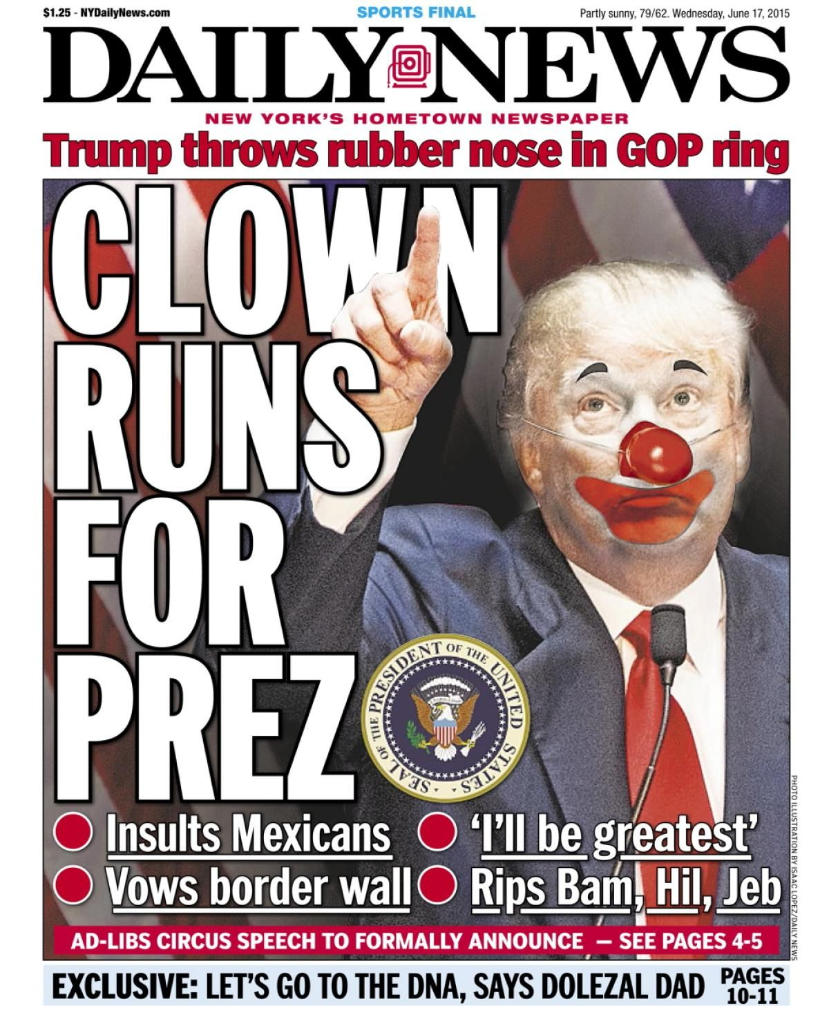 Women will continue to stand up for our rights after march new york daily news -  Clown Runs For Prez Photos Top New York Daily News Front Pages Of 2015