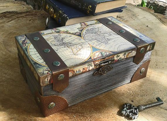 Vintage Map Box Globes And Maps Box Vintage Map Chest Wooden Boxes Vintage Map Keepsake Boxes