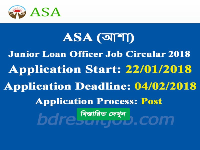 Asa  Junior Loan Officer Job Circular   Job Circular