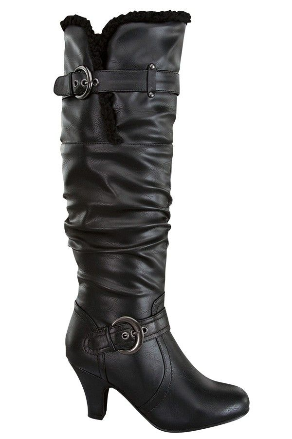 d7f6fb03a61b BLACK SLOUCHY FAUX LEATHER DOUBLE BUCKLE STRAP KNEE-HIGH BOOT,Women's Boots-Sexy  Boots,Heel Boots,Flat Boots,Over The Knee Boots,Knee High Boots,Thigh High  ...