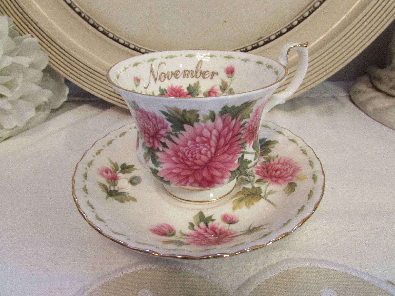 Antique English Royal Albert porcelain tea cup month