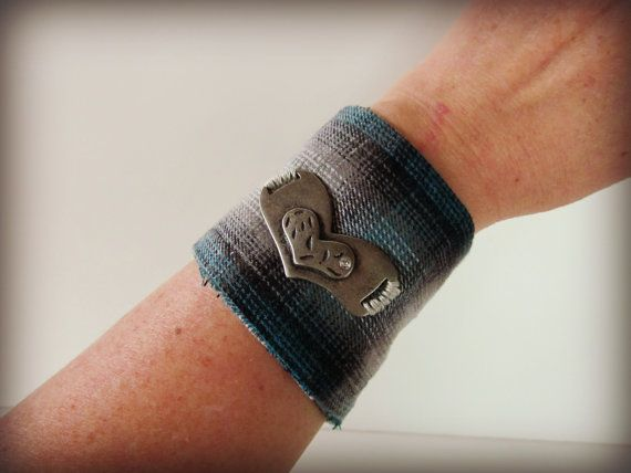 Love Heart Plaid Flannel Cuff Bracelet// Upcycled// by emmevielle $28.00
